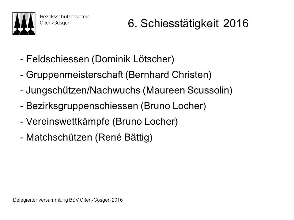 - Feldschiessen (Dominik Lötscher) - Gruppenmeisterschaft (Bernhard Christen) - Jungschützen/Nachwuchs (Maureen Scussolin) - Bezirksgruppenschiessen (