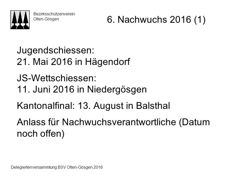 Jugendschiessen: 21. Mai 2016 in Hägendorf JS-Wettschiessen: 11. Juni 2016 in Niedergösgen Kantonalfinal: 13. August in Balsthal Anlass für Nachwuchsv