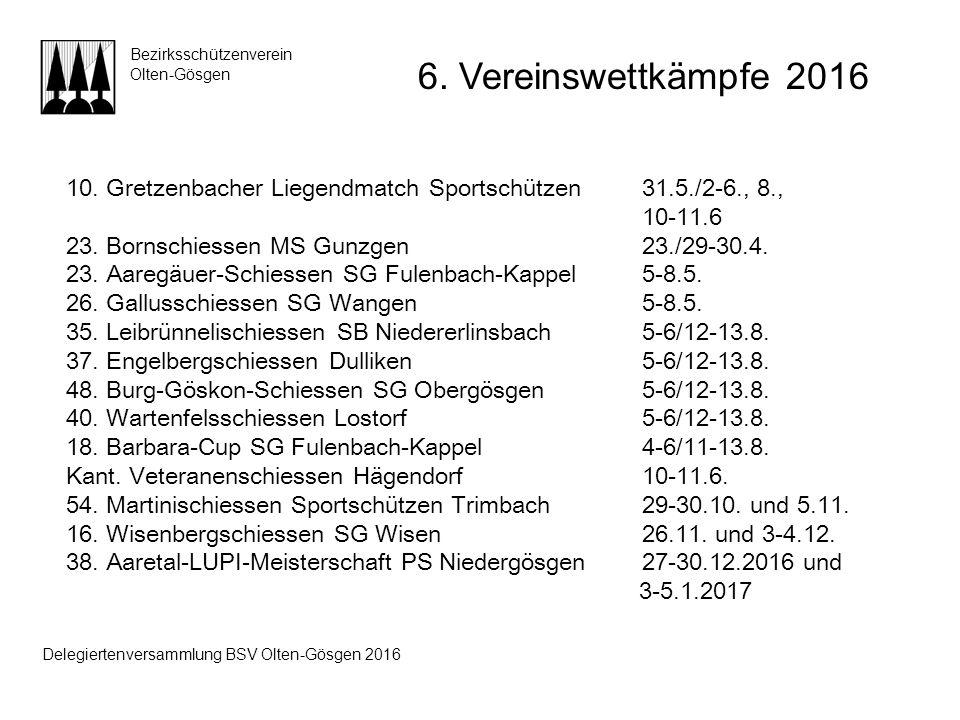 10. Gretzenbacher Liegendmatch Sportschützen 31.5./2-6., 8., 10-11.6 23. Bornschiessen MS Gunzgen23./29-30.4. 23. Aaregäuer-Schiessen SG Fulenbach-Kap