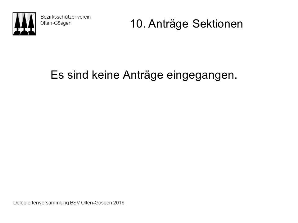 Es sind keine Anträge eingegangen. Bezirksschützenverein Olten-Gösgen 10. Anträge Sektionen Delegiertenversammlung BSV Olten-Gösgen 2016