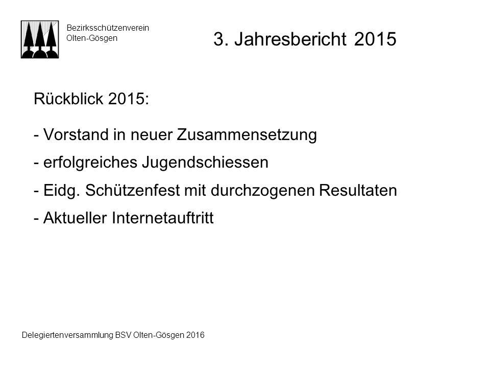 Rückblick 2015: - Vorstand in neuer Zusammensetzung - erfolgreiches Jugendschiessen - Eidg. Schützenfest mit durchzogenen Resultaten - Aktueller Inter