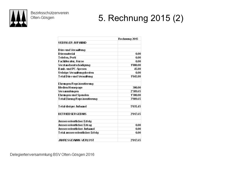 Bezirksschützenverein Olten-Gösgen 5. Rechnung 2015 (2) Delegiertenversammlung BSV Olten-Gösgen 2016