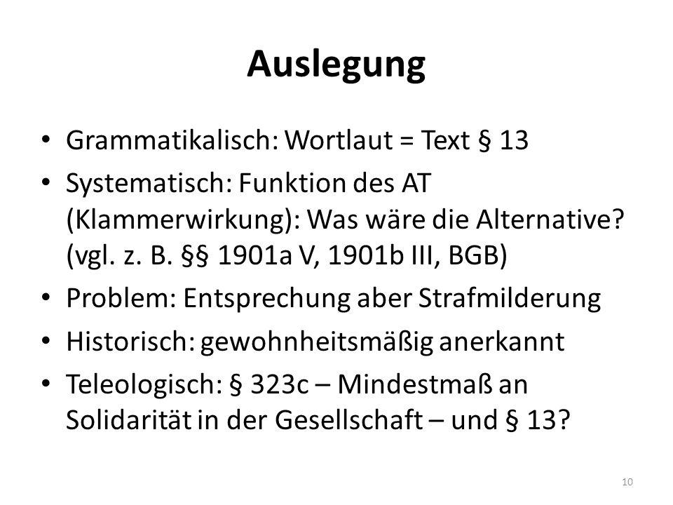 Auslegung Grammatikalisch: Wortlaut = Text § 13 Systematisch: Funktion des AT (Klammerwirkung): Was wäre die Alternative? (vgl. z. B. §§ 1901a V, 1901