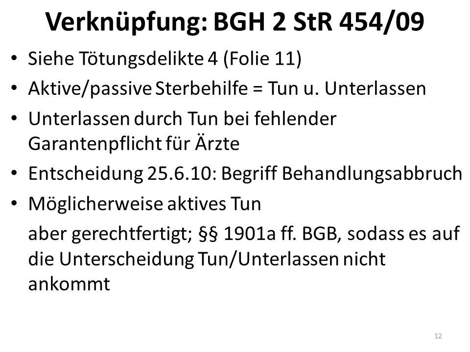 Verknüpfung: BGH 2 StR 454/09 Siehe Tötungsdelikte 4 (Folie 11) Aktive/passive Sterbehilfe = Tun u.