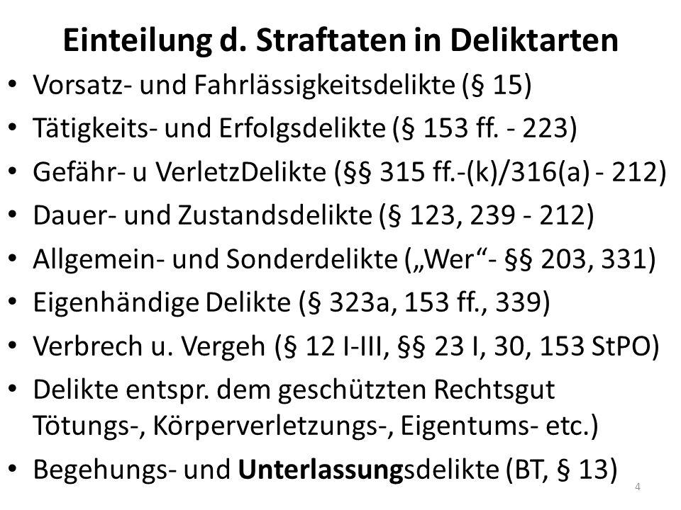 Einteilung d. Straftaten in Deliktarten Vorsatz- und Fahrlässigkeitsdelikte (§ 15) Tätigkeits- und Erfolgsdelikte (§ 153 ff. - 223) Gefähr- u VerletzD