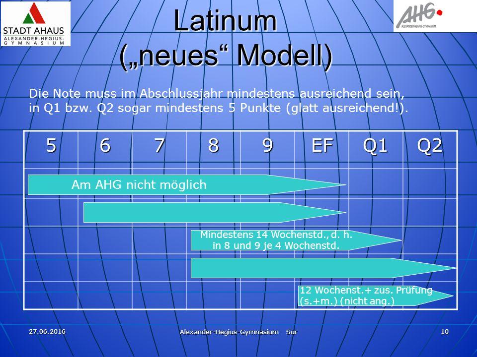 """27.06.2016 Alexander-Hegius-Gymnasium Sür 10 Latinum (""""neues"""" Modell) 56789EFQ1Q2 Die Note muss im Abschlussjahr mindestens ausreichend sein, in Q1 bz"""