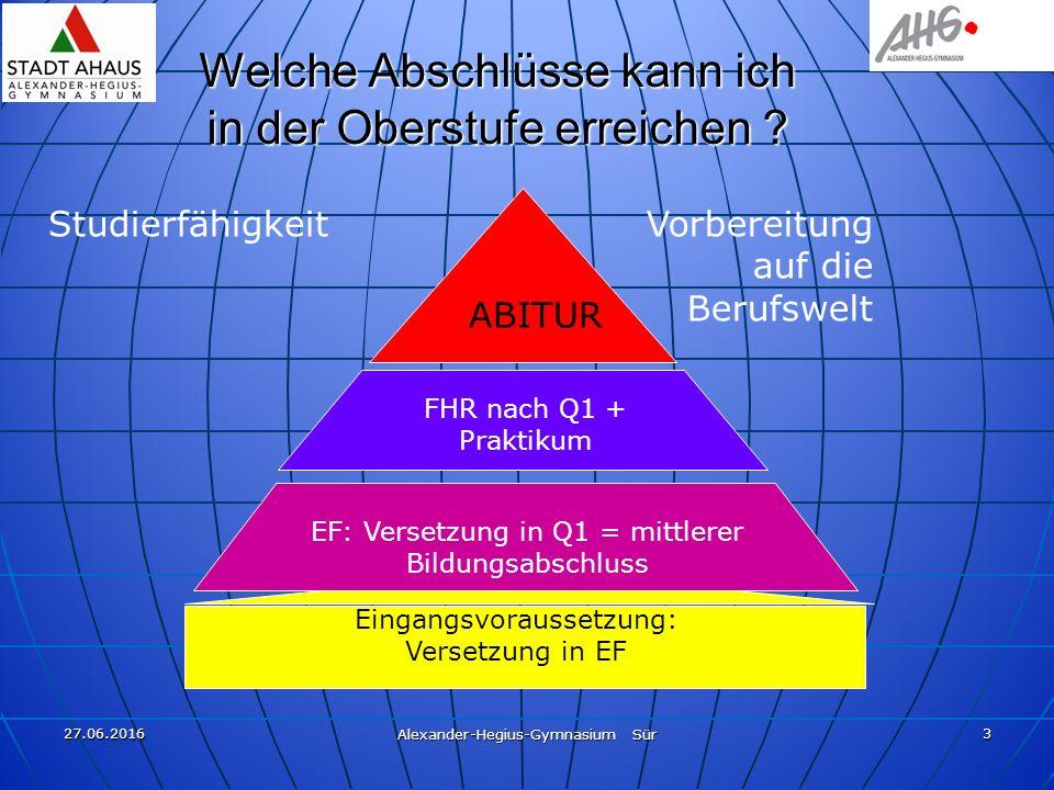 27.06.2016 Alexander-Hegius-Gymnasium Sür 3 Eingangsvoraussetzung: Versetzung in EF Welche Abschlüsse kann ich in der Oberstufe erreichen .