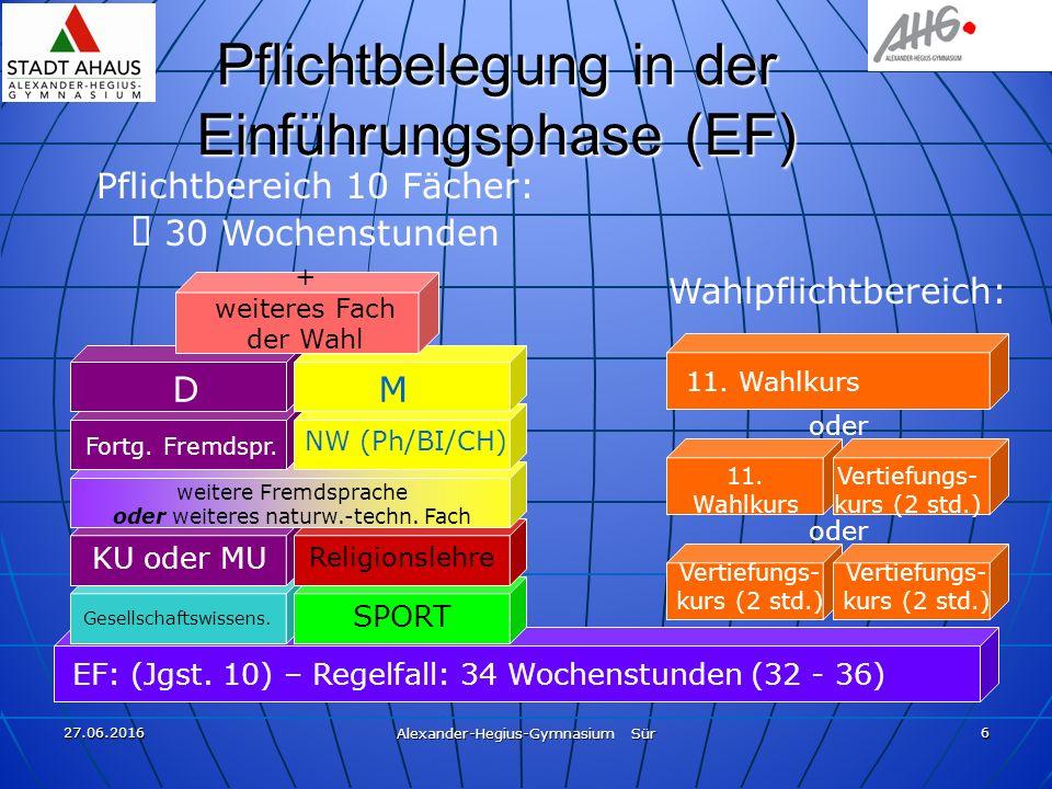 27.06.2016 Alexander-Hegius-Gymnasium Sür 6 Pflichtbelegung in der Einführungsphase (EF) EF: (Jgst. 10) – Regelfall: 34 Wochenstunden (32 - 36) DM For