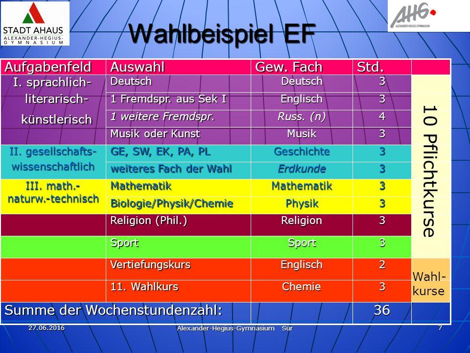 27.06.2016 Alexander-Hegius-Gymnasium Sür 7 Wahlbeispiel EF 36 3 2 3 3 3 3 3 3 3 4 3 3Std.Chemie 11.