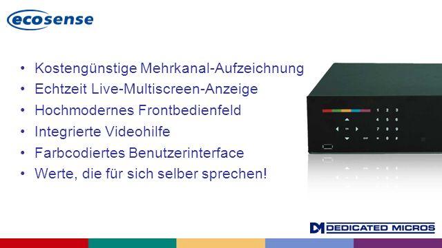 Kostengünstige Mehrkanal-Aufzeichnung Echtzeit Live-Multiscreen-Anzeige Hochmodernes Frontbedienfeld Integrierte Videohilfe Farbcodiertes Benutzerinte