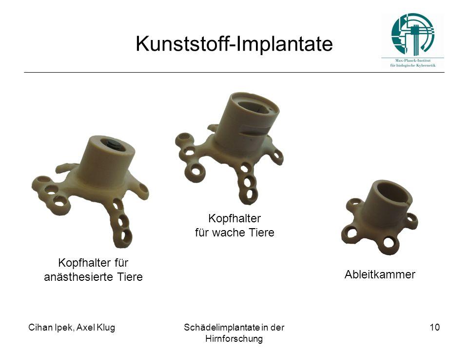 Cihan Ipek, Axel KlugSchädelimplantate in der Hirnforschung 10 Kunststoff-Implantate Kopfhalter für wache Tiere Kopfhalter für anästhesierte Tiere Ableitkammer