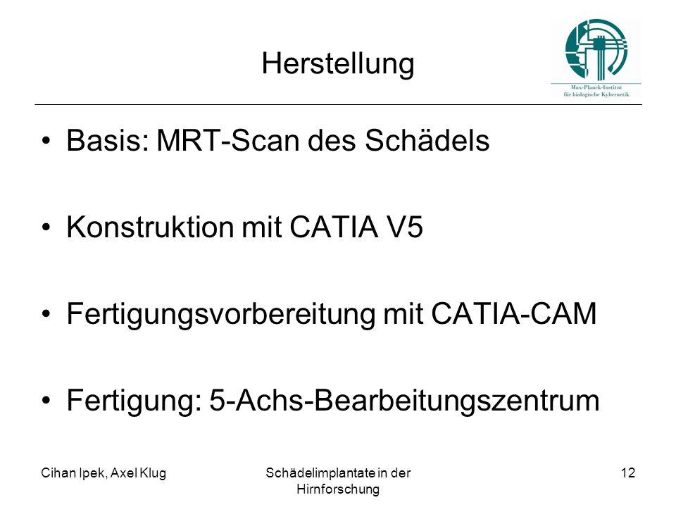 Cihan Ipek, Axel KlugSchädelimplantate in der Hirnforschung 12 Herstellung Basis: MRT-Scan des Schädels Konstruktion mit CATIA V5 Fertigungsvorbereitu