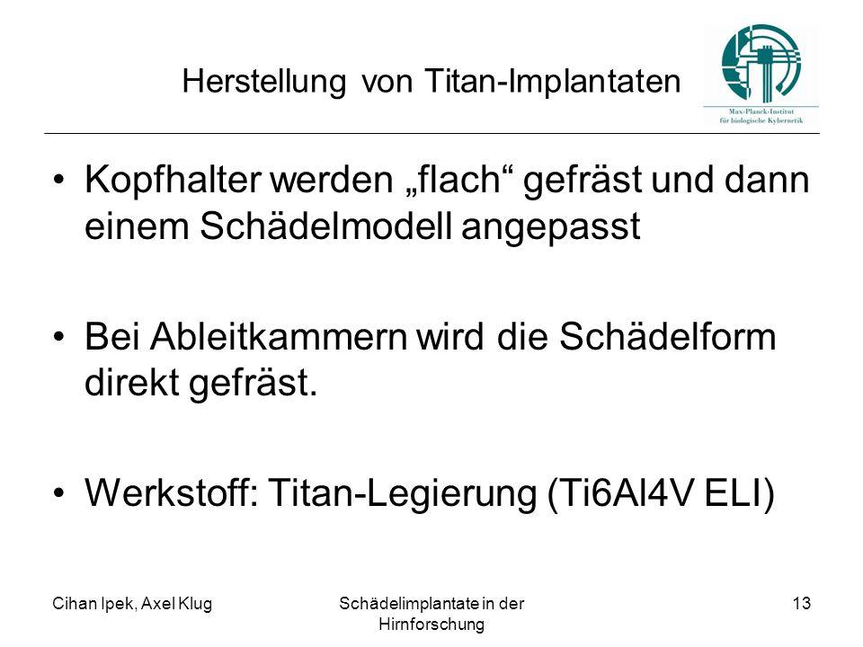 """Cihan Ipek, Axel KlugSchädelimplantate in der Hirnforschung 13 Herstellung von Titan-Implantaten Kopfhalter werden """"flach gefräst und dann einem Schädelmodell angepasst Bei Ableitkammern wird die Schädelform direkt gefräst."""