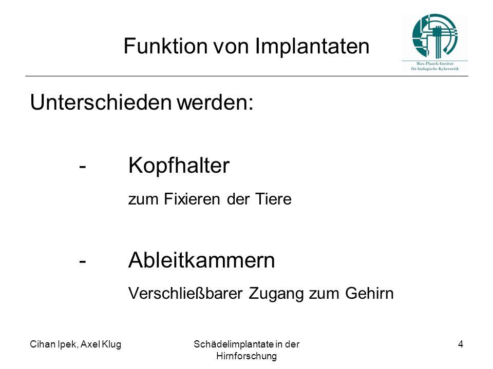 Cihan Ipek, Axel KlugSchädelimplantate in der Hirnforschung 4 Funktion von Implantaten Unterschieden werden: - Kopfhalter zum Fixieren der Tiere - Ableitkammern Verschließbarer Zugang zum Gehirn