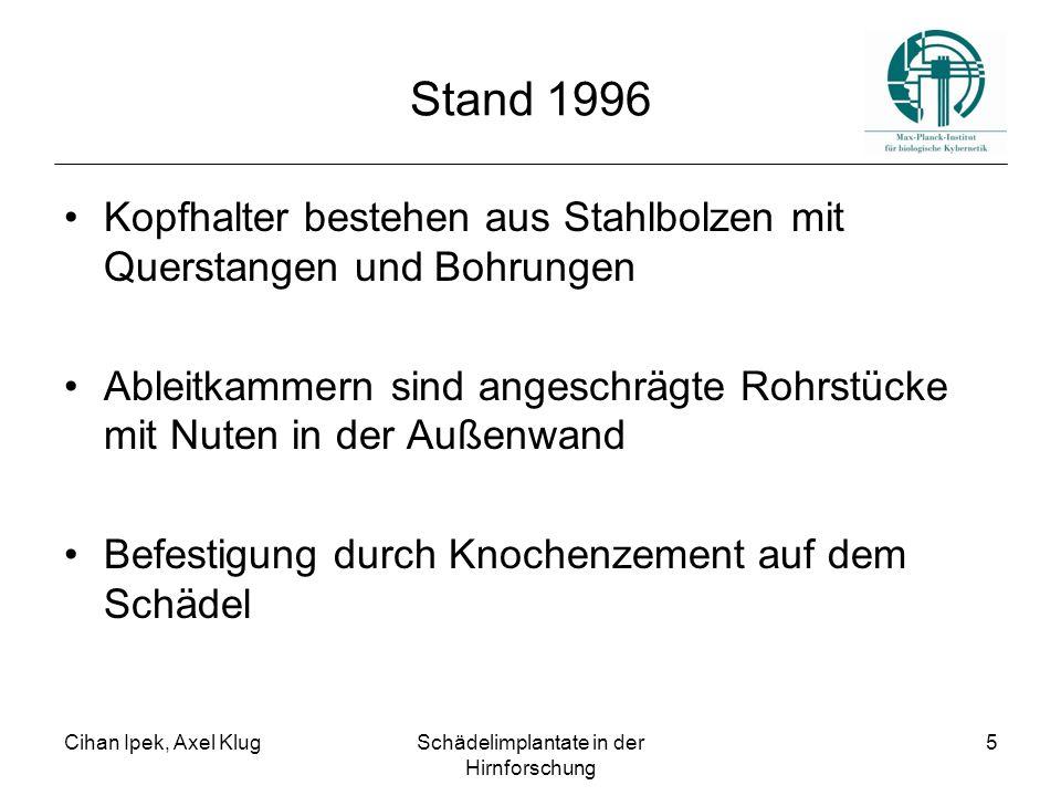 Cihan Ipek, Axel KlugSchädelimplantate in der Hirnforschung 5 Stand 1996 Kopfhalter bestehen aus Stahlbolzen mit Querstangen und Bohrungen Ableitkamme