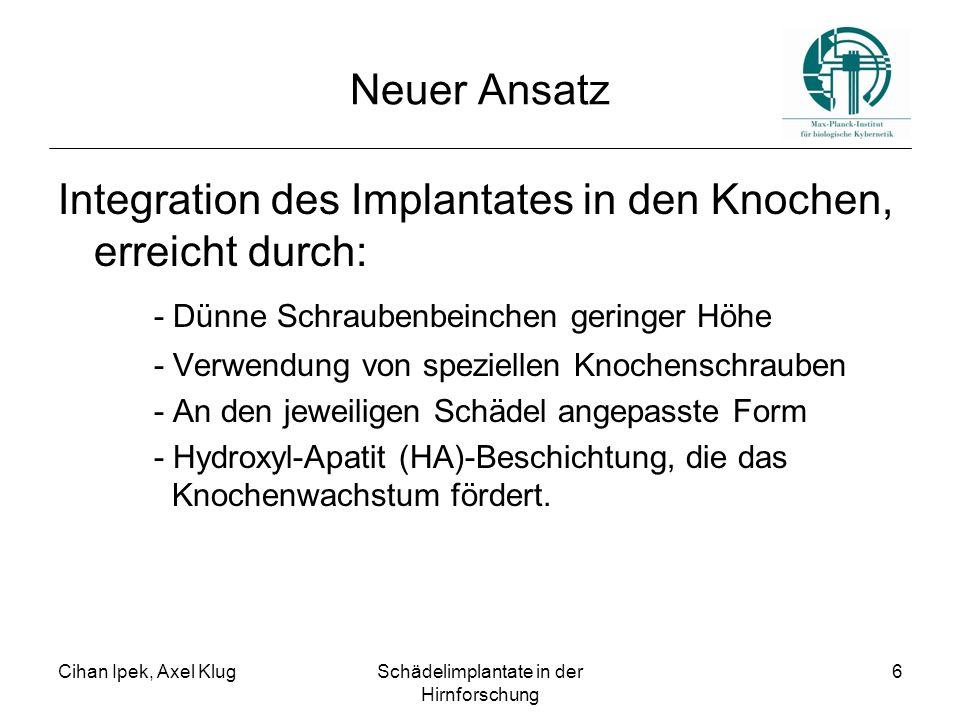 Cihan Ipek, Axel KlugSchädelimplantate in der Hirnforschung 6 Neuer Ansatz Integration des Implantates in den Knochen, erreicht durch: - Dünne Schraubenbeinchen geringer Höhe - Verwendung von speziellen Knochenschrauben - An den jeweiligen Schädel angepasste Form - Hydroxyl-Apatit (HA)-Beschichtung, die das Knochenwachstum fördert.