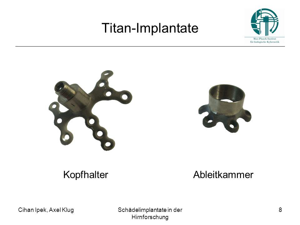 Cihan Ipek, Axel KlugSchädelimplantate in der Hirnforschung 9 Verwendung von Titan-Implantaten Elektrophysiologie - Im abgeschirmten Raum - Fixierung des Tieres - Einbringen von Elektroden in die Ableitkammer - Visuelle und akustische Stimulierung - Durch Abschirmung sind Messungen an der Zelle im µV-Bereich möglich