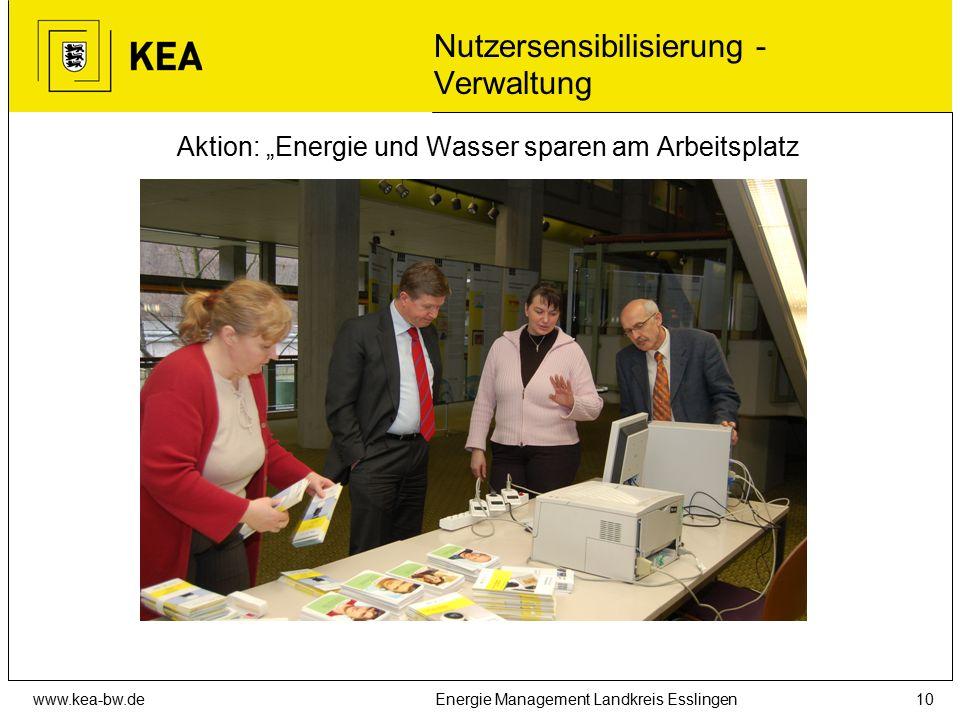 """www.kea-bw.deEnergie Management Landkreis Esslingen10 Nutzersensibilisierung - Verwaltung Aktion: """"Energie und Wasser sparen am Arbeitsplatz"""