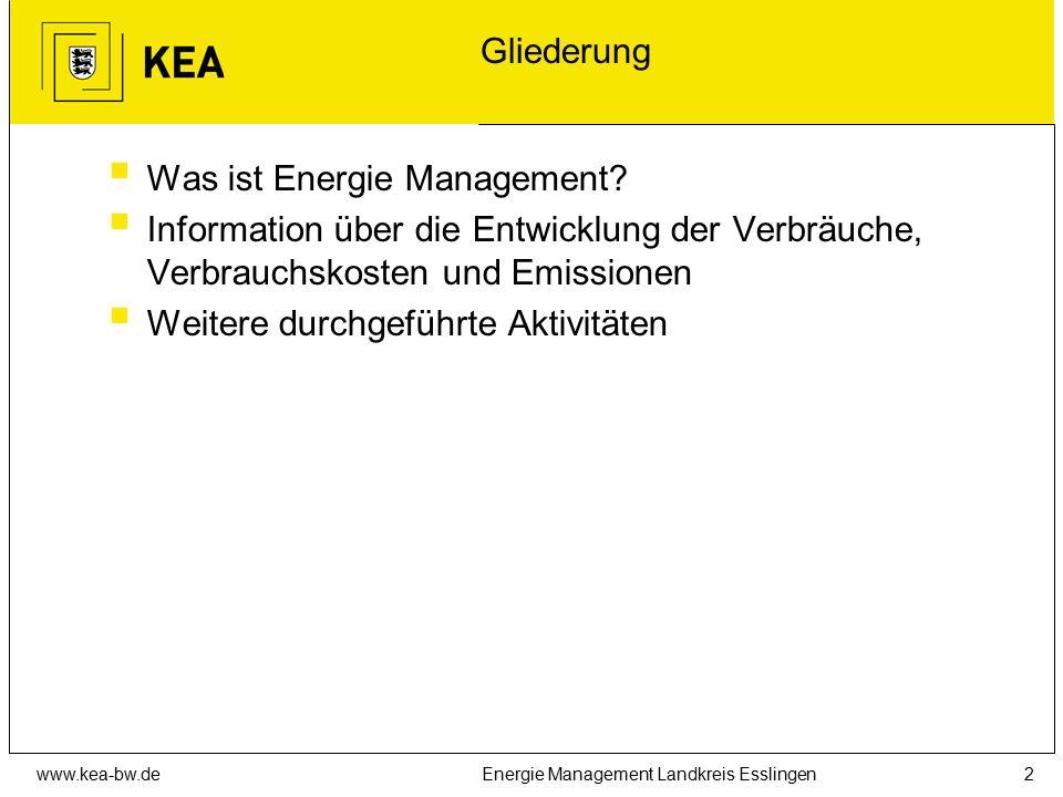 www.kea-bw.deEnergie Management Landkreis Esslingen2 Gliederung  Was ist Energie Management?  Information über die Entwicklung der Verbräuche, Verbr