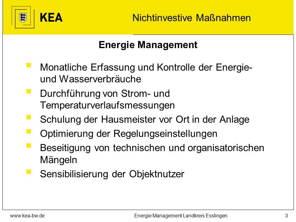www.kea-bw.deEnergie Management Landkreis Esslingen3 Energie Management  Monatliche Erfassung und Kontrolle der Energie- und Wasserverbräuche  Durch