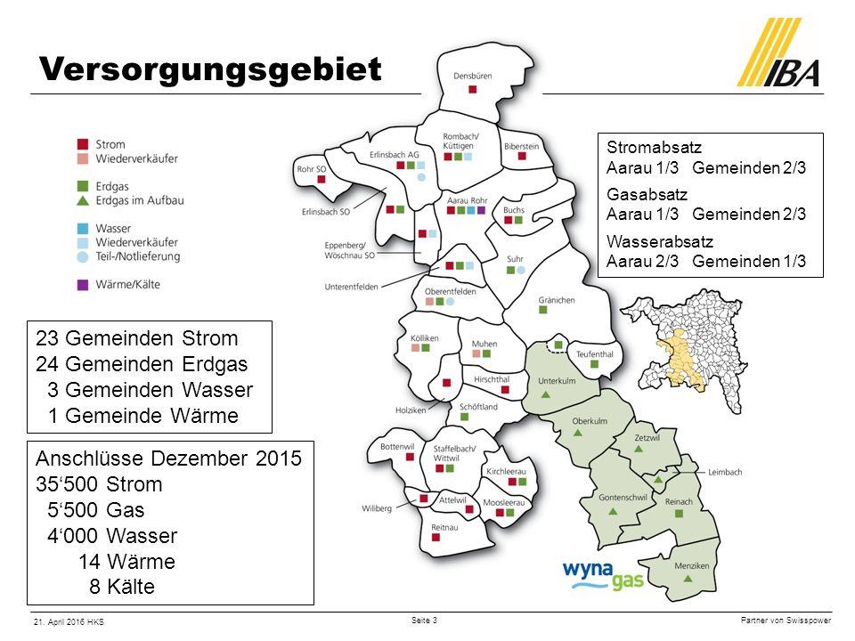 Partner von Swisspower 21. April 2016 HKS Seite 4 Wynagas GWh Erdgasbezug