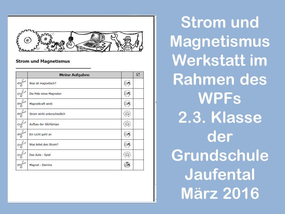 Strom und Magnetismus Werkstatt im Rahmen des WPFs 2.3. Klasse der Grundschule Jaufental März 2016