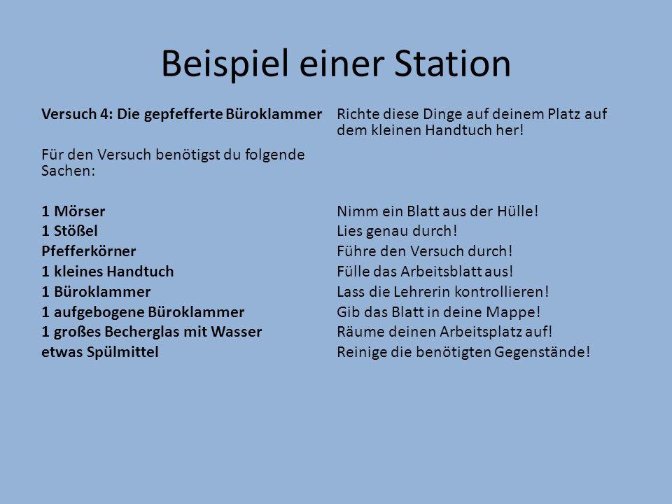 Beispiel einer Station Versuch 4: Die gepfefferte Büroklammer Für den Versuch benötigst du folgende Sachen: 1 Mörser 1 Stößel Pfefferkörner 1 kleines