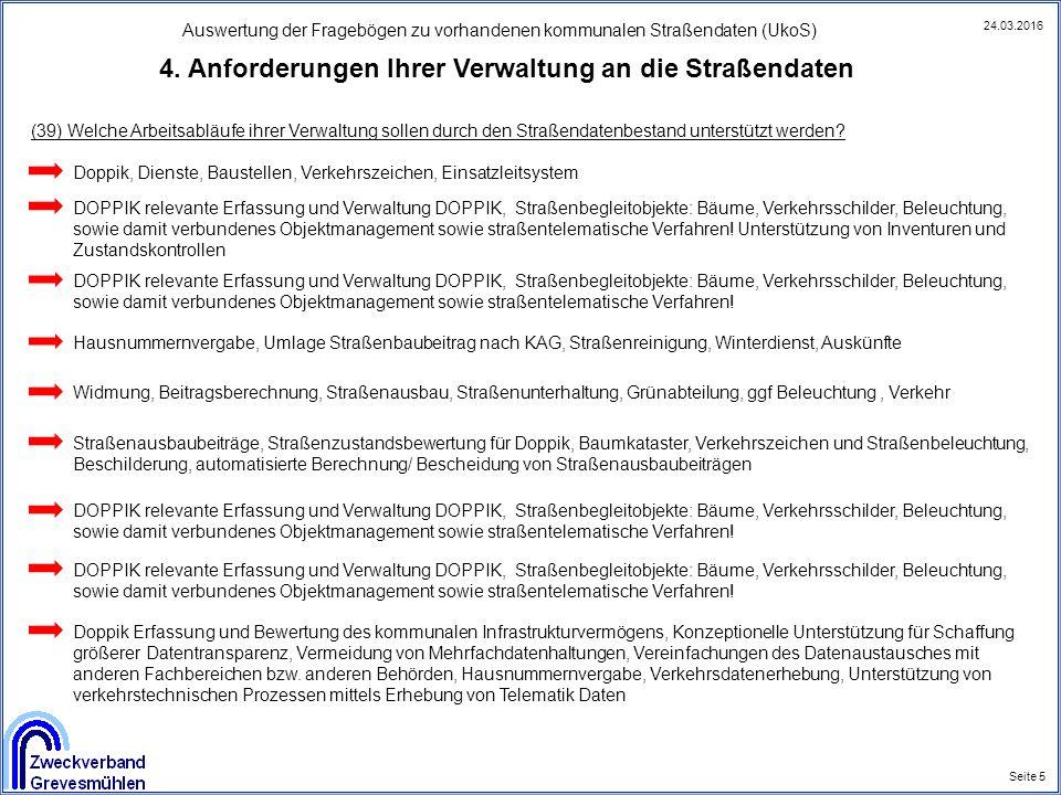 Auswertung der Fragebögen zu vorhandenen kommunalen Straßendaten (UkoS) Seite 5 24.03.2016 4. Anforderungen Ihrer Verwaltung an die Straßendaten Doppi