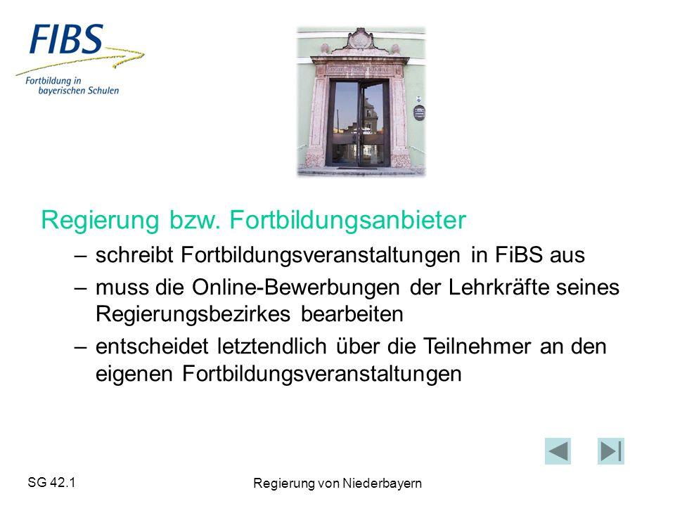 SG 42.1 Regierung von Niederbayern Regierung bzw.