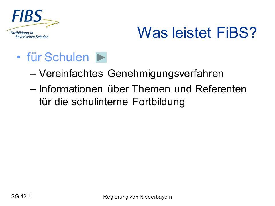 SG 42.1 Regierung von Niederbayern Was leistet FiBS.