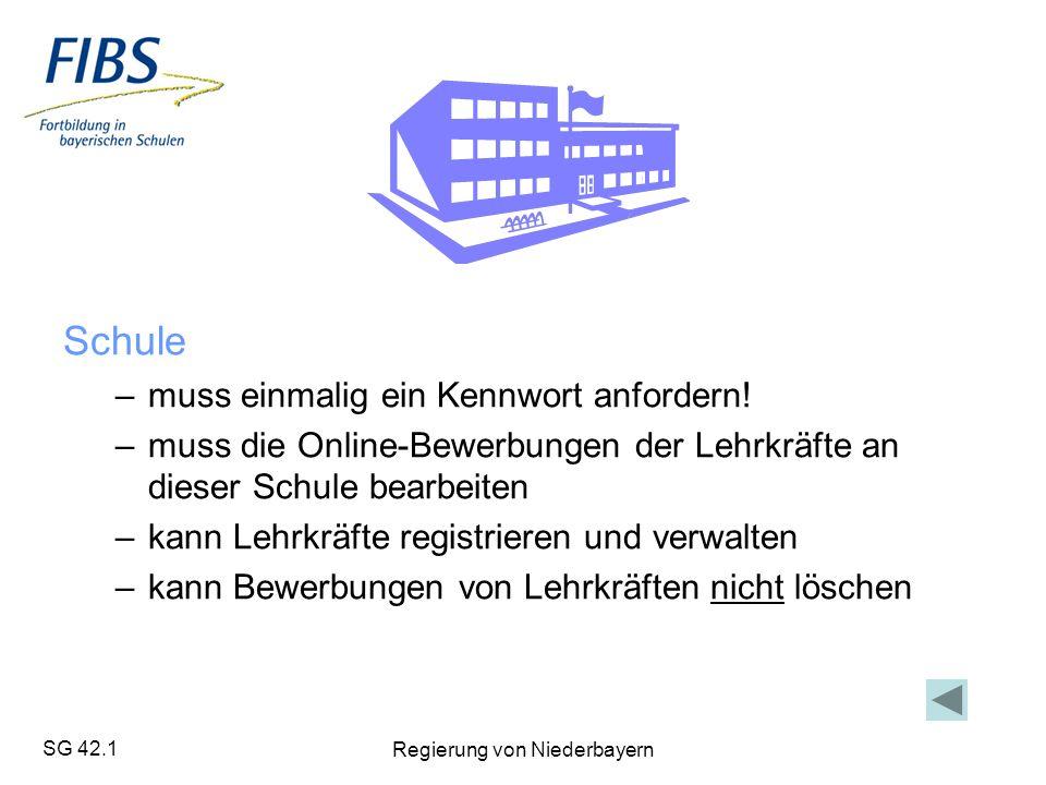 SG 42.1 Regierung von Niederbayern Schule –muss einmalig ein Kennwort anfordern.