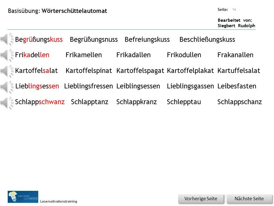 Übungsart: Seite: Bearbeitet von: Siegbert Rudolph Lesemotivationstraining Der Rucksack fühlte sich irgedwie leichter an als voher.