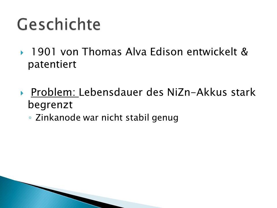  1901 von Thomas Alva Edison entwickelt & patentiert  Problem: Lebensdauer des NiZn-Akkus stark begrenzt ◦ Zinkanode war nicht stabil genug