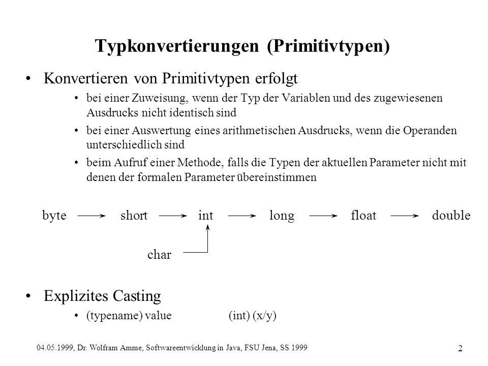 04.05.1999, Dr. Wolfram Amme, Softwareentwicklung in Java, FSU Jena, SS 1999 2 Typkonvertierungen (Primitivtypen) Konvertieren von Primitivtypen erfol