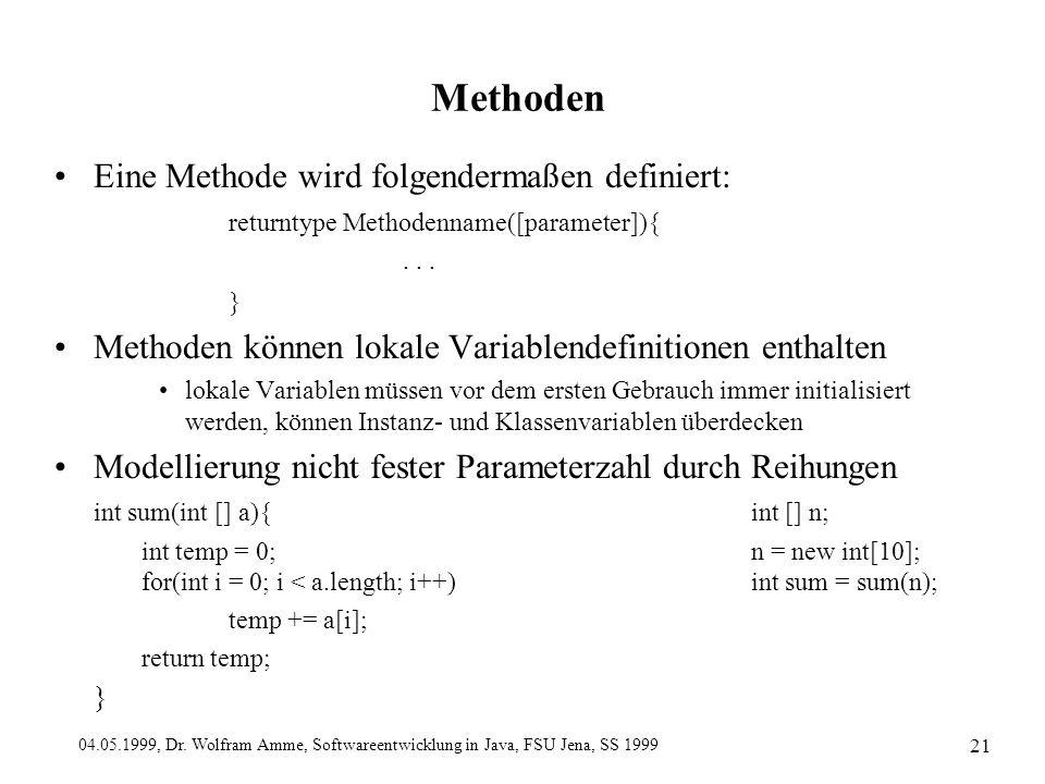 04.05.1999, Dr. Wolfram Amme, Softwareentwicklung in Java, FSU Jena, SS 1999 21 Methoden Eine Methode wird folgendermaßen definiert: returntype Method
