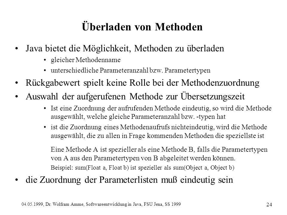 04.05.1999, Dr. Wolfram Amme, Softwareentwicklung in Java, FSU Jena, SS 1999 24 Überladen von Methoden Java bietet die Möglichkeit, Methoden zu überla