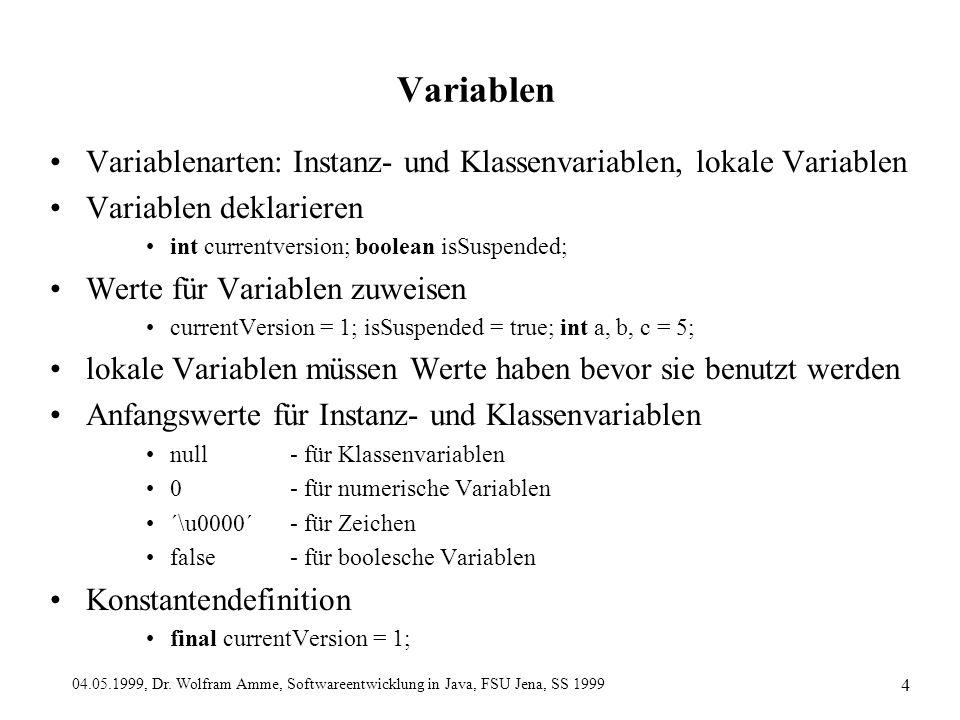 04.05.1999, Dr. Wolfram Amme, Softwareentwicklung in Java, FSU Jena, SS 1999 4 Variablen Variablenarten: Instanz- und Klassenvariablen, lokale Variabl