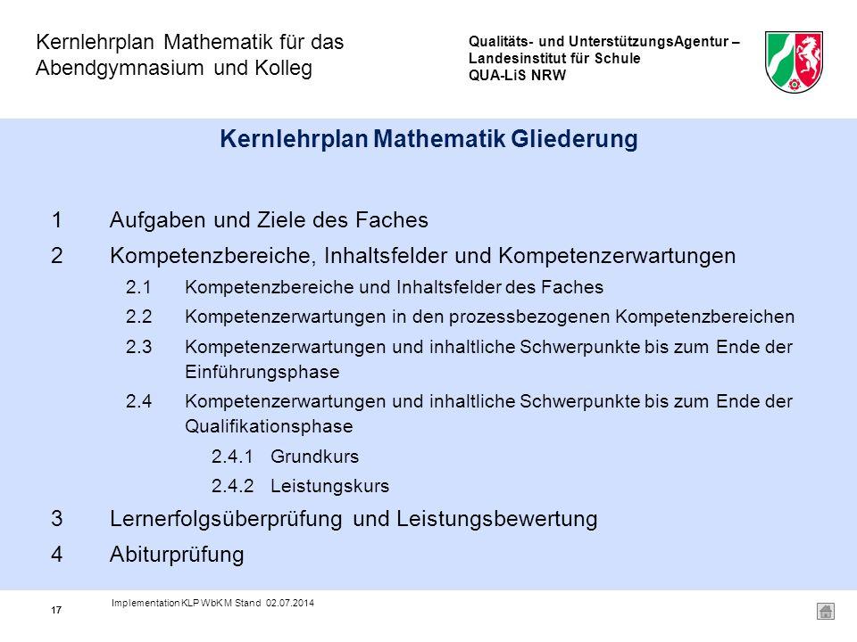Qualitäts- und UnterstützungsAgentur – Landesinstitut für Schule QUA-LiS NRW Kernlehrplan Mathematik für das Abendgymnasium und Kolleg 17 Kernlehrplan Mathematik Gliederung 1Aufgaben und Ziele des Faches 2Kompetenzbereiche, Inhaltsfelder und Kompetenzerwartungen 2.1Kompetenzbereiche und Inhaltsfelder des Faches 2.2Kompetenzerwartungen in den prozessbezogenen Kompetenzbereichen 2.3Kompetenzerwartungen und inhaltliche Schwerpunkte bis zum Ende der Einführungsphase 2.4Kompetenzerwartungen und inhaltliche Schwerpunkte bis zum Ende der Qualifikationsphase 2.4.1Grundkurs 2.4.2Leistungskurs 3Lernerfolgsüberprüfung und Leistungsbewertung 4Abiturprüfung 17 Implementation KLP WbK M Stand 02.07.2014