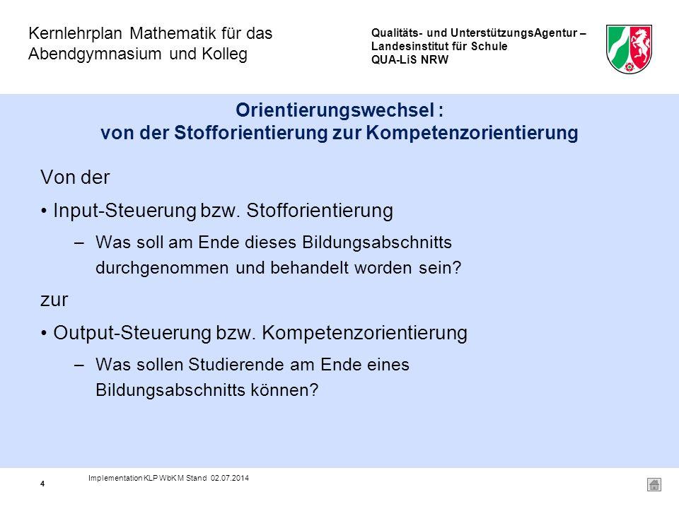 Qualitäts- und UnterstützungsAgentur – Landesinstitut für Schule QUA-LiS NRW Kernlehrplan Mathematik für das Abendgymnasium und Kolleg 25 DER NEUE KERNLEHRPLAN MATHEMATIK IM ÜBERBLICK II.