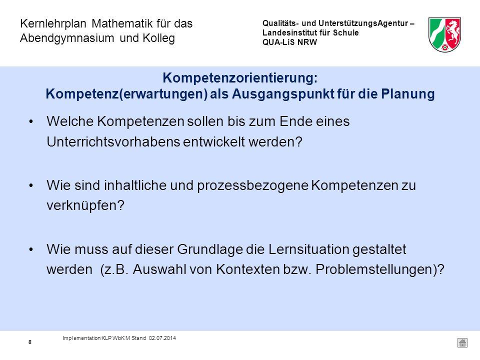 Qualitäts- und UnterstützungsAgentur – Landesinstitut für Schule QUA-LiS NRW Kernlehrplan Mathematik für das Abendgymnasium und Kolleg 19 Übernommen wurden die bewährten Inhaltsfeldbezeichnungen –Funktionen und Analysis (A) –Analytische Geometrie und lineare Algebra (G) –Stochastik (S) die Bezeichnungen der Kompetenzbereiche –Modellieren –Problemlösen –Werkzeuge nutzen –Argumentieren –Kommunizieren 19 Implementation KLP WbK M Stand 02.07.2014
