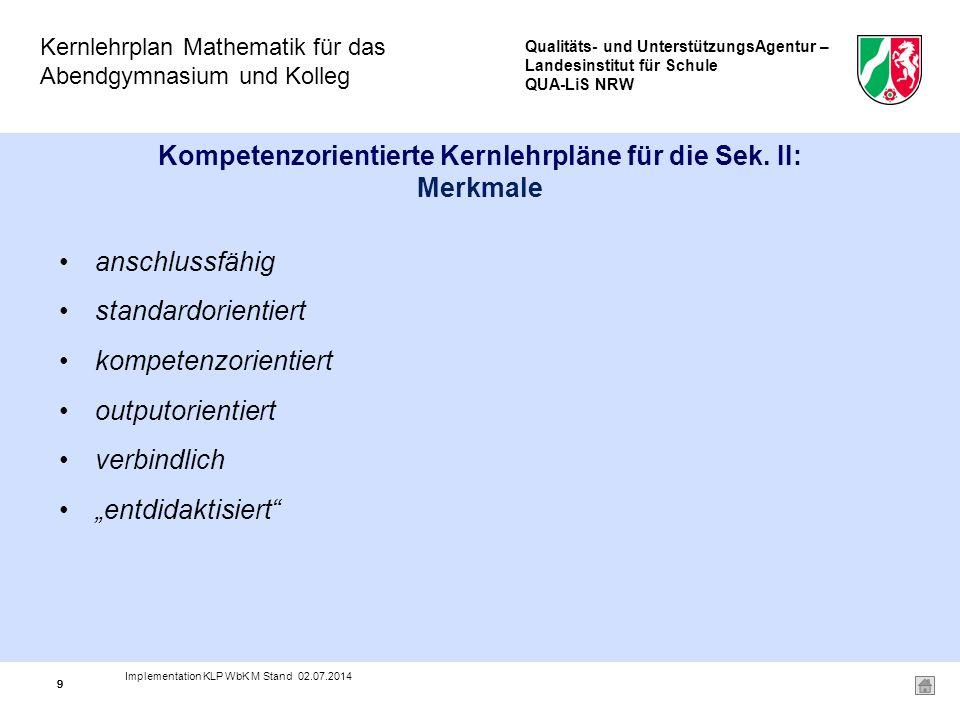 Qualitäts- und UnterstützungsAgentur – Landesinstitut für Schule QUA-LiS NRW Kernlehrplan Mathematik für das Abendgymnasium und Kolleg 99 Kompetenzorientierte Kernlehrpläne für die Sek.