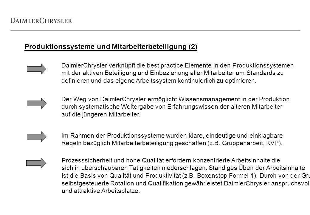 Produktionssysteme und Mitarbeiterbeteiligung (2) DaimlerChrysler verknüpft die best practice Elemente in den Produktionssystemen mit der aktiven Beteiligung und Einbeziehung aller Mitarbeiter um Standards zu definieren und das eigene Arbeitssystem kontinuierlich zu optimieren.