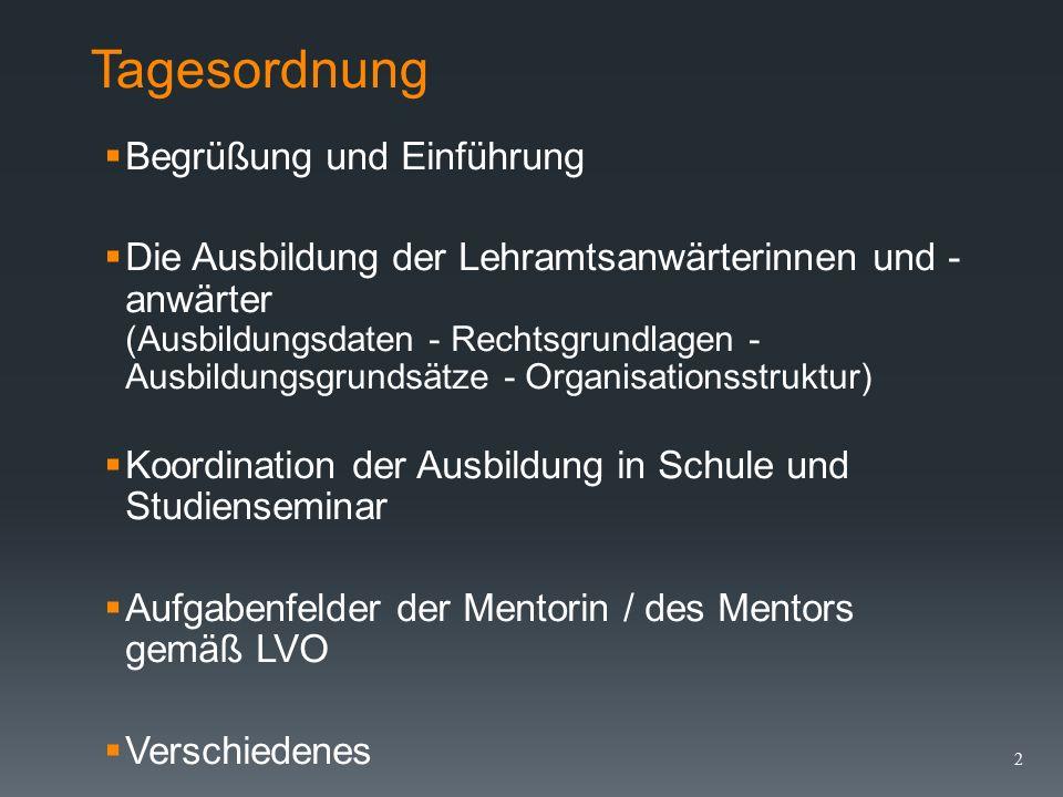 Staatliches Studienseminar für das Lehramt an Förderschulen Dienstbesprechung für Mentorinnen und Mentoren am 01.02.2016 Stand: 01.02.2016 1