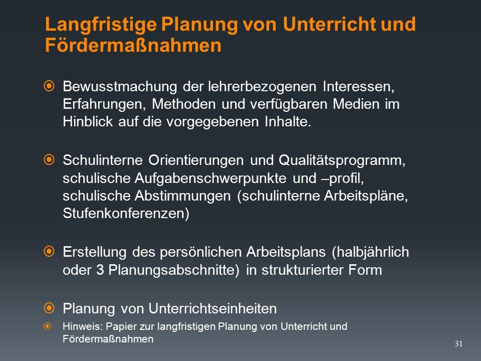 Langfristige Planung von Unterricht und Fördermaßnahmen  Ermittlung der zur Verfügung stehenden Zeit (Anzahl der Stunden bis zu den jeweiligen Ferienabschnitten).