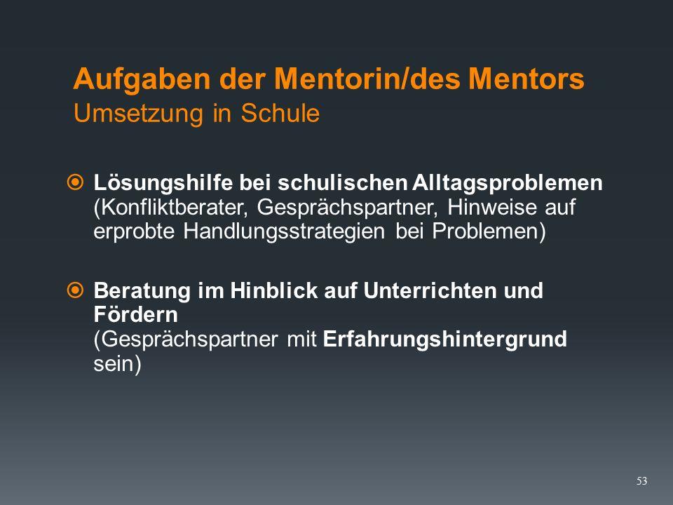 Aufgaben der Mentorin/des Mentors Umsetzung in Schule  Einführung in das Handlungsfeld vor Ort (Kollegium, Organisationsstruktur, Konferenzbeschlüsse, Absprachen zur Alltagsbewältigung, Medien u.