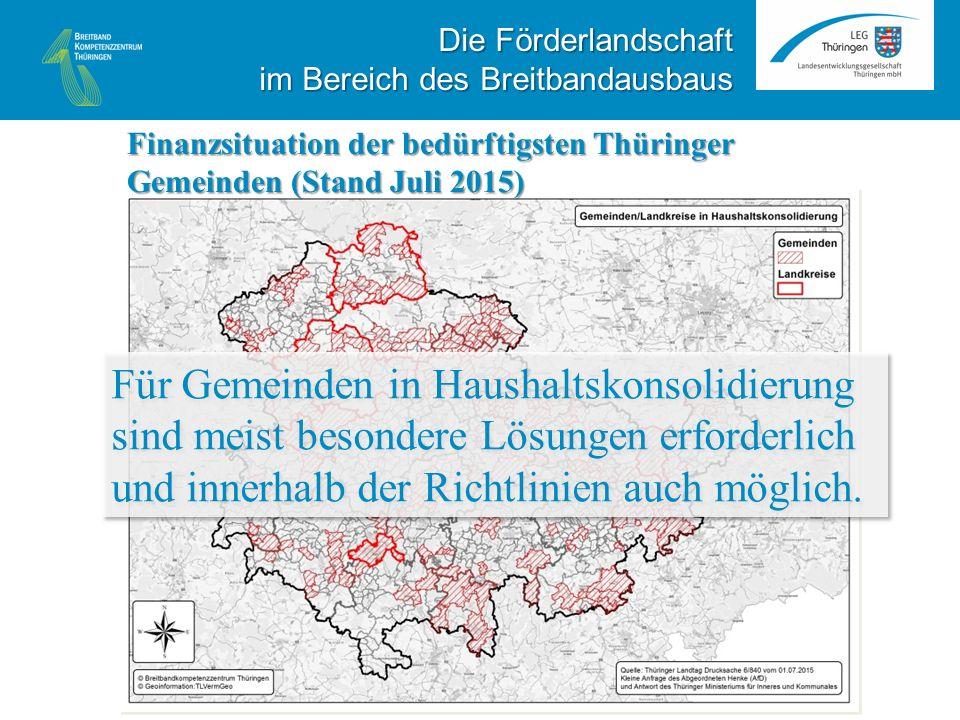 Finanzsituation der bedürftigsten Thüringer Gemeinden (Stand Juli 2015) Für Gemeinden in Haushaltskonsolidierung sind meist besondere Lösungen erforderlich und innerhalb der Richtlinien auch möglich.