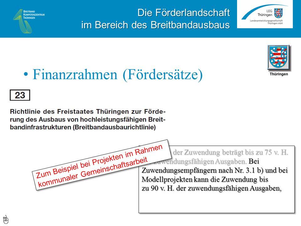 Die Förderlandschaft im Bereich des Breitbandausbaus Finanzrahmen (Fördersätze) Die Höhe der Zuwendung beträgt bis zu 75 v.