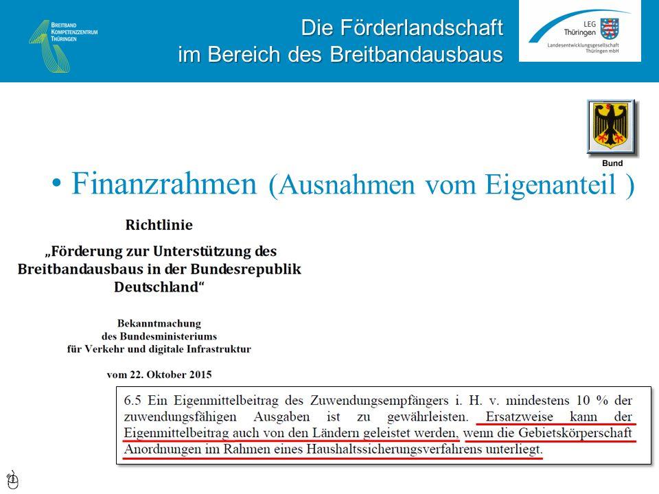 Die Förderlandschaft im Bereich des Breitbandausbaus Finanzrahmen (Ausnahmen vom Eigenanteil )