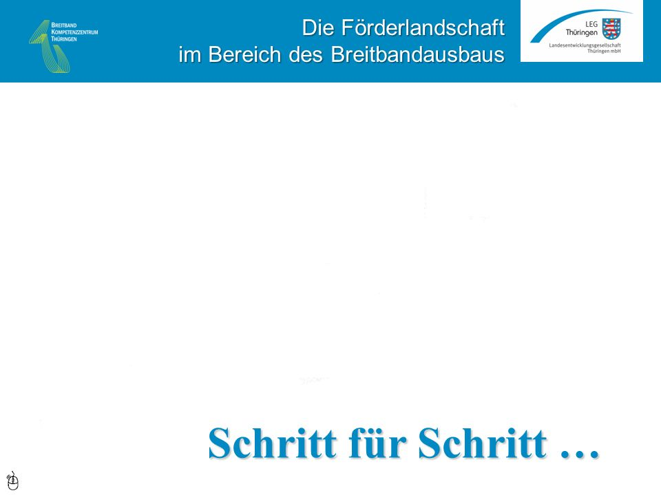 FTTH FTTB VDSL50 VDSL30 Schritt für Schritt … Die Förderlandschaft im Bereich des Breitbandausbaus