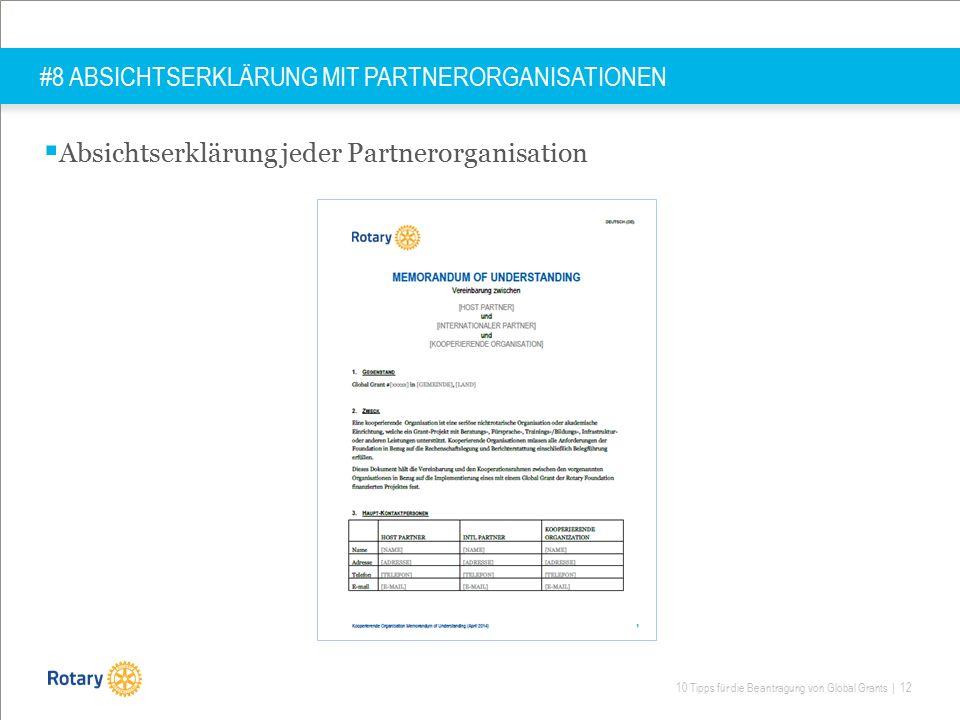 10 Tipps für die Beantragung von Global Grants | 12 #8 ABSICHTSERKLÄRUNG MIT PARTNERORGANISATIONEN  Absichtserklärung jeder Partnerorganisation